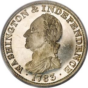 1783 GR EDGE SIL RESTRK WASHINGTON & INDEPENDENCE PF obverse