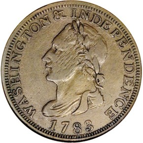 1783 'UNITY STATES' WASHINGTON & INDEPENDENCE 1C MS obverse