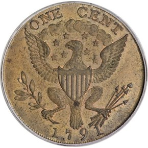 1791 SMALL EAGLE WASHINGTON PRESIDENT 1C MS reverse