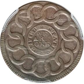 1787 + P.R. FUGIO 'UNITED STATES' 1C MS reverse