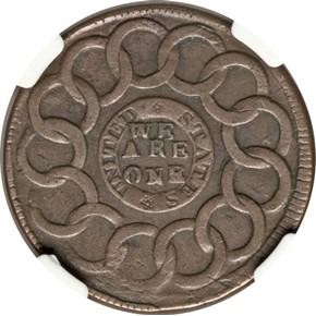 1787 1/HOR 1 P.R. FUGIO 'UNITED STATES' 1C MS reverse