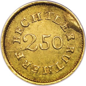 (1837-42) C.BECHTLER 67G, 21C $2.5 MS reverse