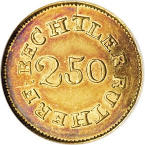 (1837-42) C.BECHTLER 64G, UNEVEN 22C $2.5 MS reverse