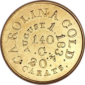 (1834-37) C.BECHTLER 140G, 20C, RUTHERFORD $5 MS obverse
