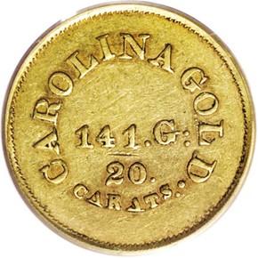 (1842-50) A.BECHTLER 141G, 20C $5 MS reverse