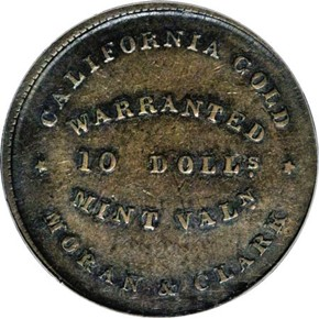 (1849) COPPER MORAN & CLARK K-1 $10 MS obverse