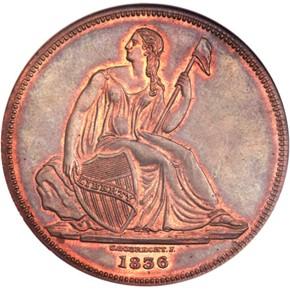 1836 COPPER J-59 GOBRECHT S$1 PF obverse