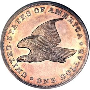 1836 SILVER J-65 GOBRECHT S$1 PF reverse