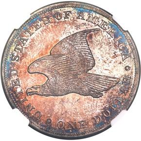 1839 SILVER J-105 GOBRECHT S$1 PF reverse