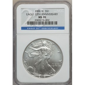 2006 W EAGLE 20TH ANNIVERSARY S$1 MS obverse