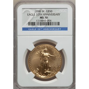 2006 W EAGLE 20TH ANNIVERSARY G$50 MS obverse