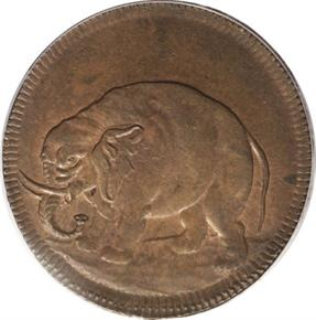 c.1694 THICK ELEPHANT GOD PRESERVE LONDON TOKEN MS obverse