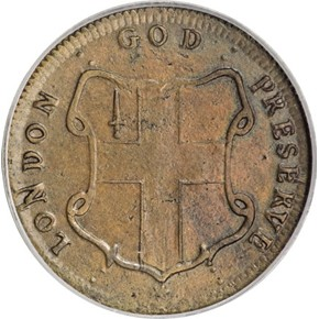 c.1694 THIN ELEPHANT GOD PRESERVE LONDON TOKEN MS reverse