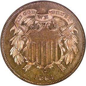 1864 SMALL MOTTO 2C PF obverse