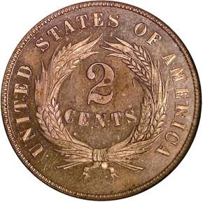 1864 SMALL MOTTO 2C PF reverse