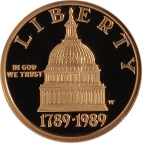 1989 W CONGRESS $5 PF obverse