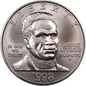 1998 S BLACK PATRIOTS S$1 MS obverse
