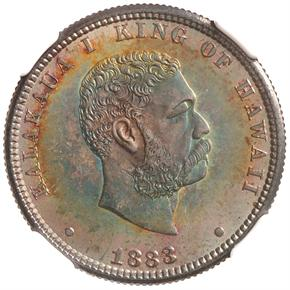 1883 HAWAII 25C MS obverse