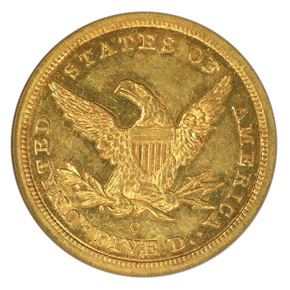 1843 C $5 MS reverse