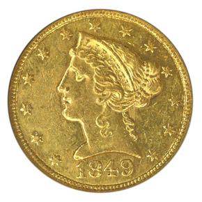1849 C $5 MS obverse