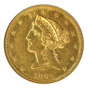 1860 C $5 MS obverse