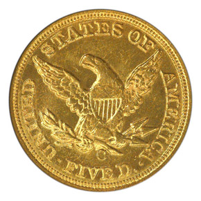 1860 C $5 MS reverse