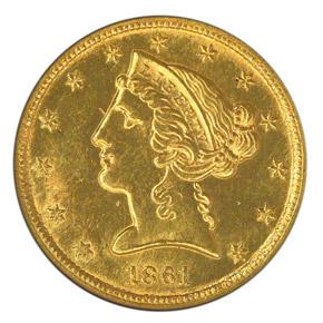 1861 C $5 MS obverse