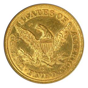 1861 C $5 MS reverse