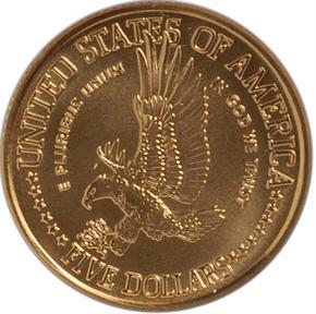 1986 W LIBERTY $5 MS reverse