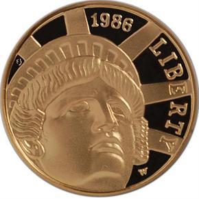 1986 W LIBERTY $5 PF obverse