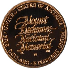 1991 W MOUNT RUSHMORE $5 PF reverse