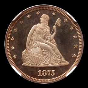 1875 J-1407 20C PF obverse