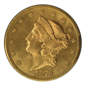 1875 S $20 MS obverse