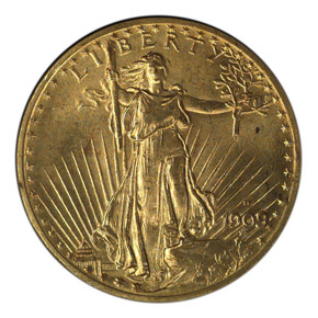1909 D $20 MS obverse