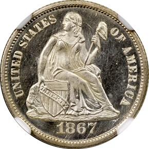 1867 10C MS obverse