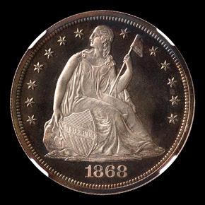 1868 S$1 PF obverse