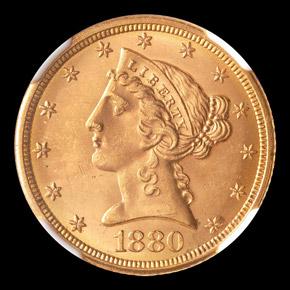1880 $5 MS obverse