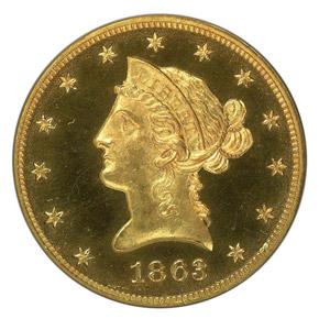 1863 J-349 $10 PF obverse