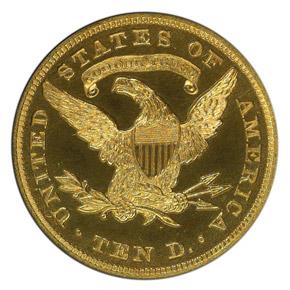 1863 J-349 $10 PF reverse