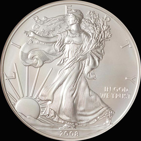 2008 W EAGLE REVERSE OF 2007 S$1 MS obverse