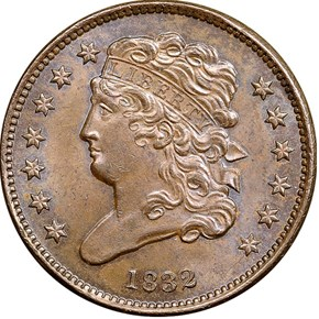 1832 1/2C MS obverse