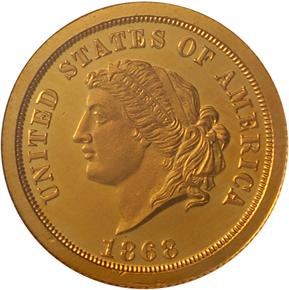1868 J-656 GILT $5 PF obverse