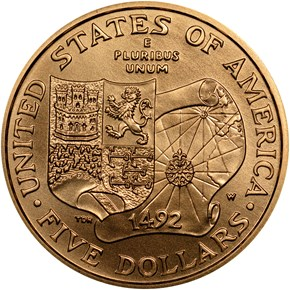 1992 W COLUMBUS $5 MS reverse