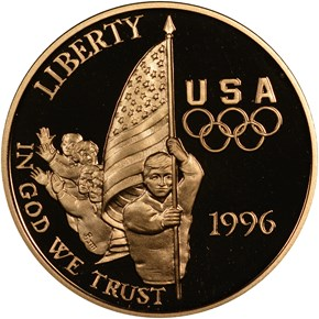 1996 W OLYMPICS FLAG BEARER $5 PF obverse