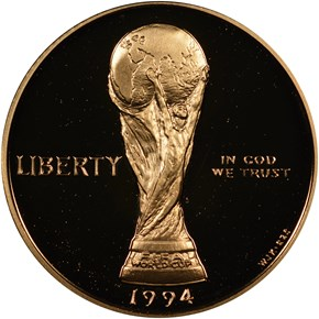 1994 W WORLD CUP $5 PF obverse