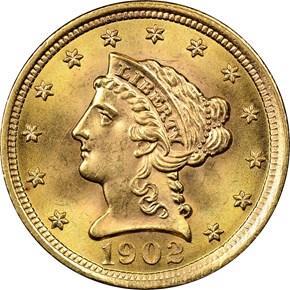 1902 $2.5 MS obverse