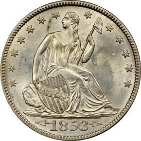 1853 ARROWS & RAYS 50C MS obverse