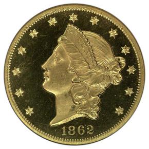 1862 $20 PF obverse