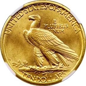 1908 D NO MOTTO $10 MS reverse
