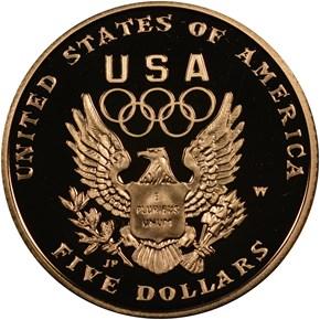 1992 W OLYMPICS $5 PF reverse